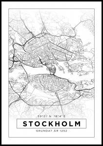 Kort - Stockholm - Hvid Plakat