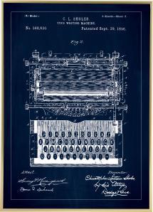 Patenttegning - Skrivemaskine - Blå Plakat