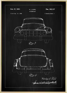 Patenttegning - Cadillac II - Sort Plakat