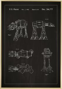 Patenttegning - Star Wars - Walker - Sort Plakat