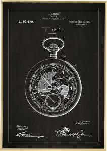 Patenttegning - Lommeur - Sort Plakat