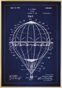 Patenttegning - Luftballon - Blå Plakat