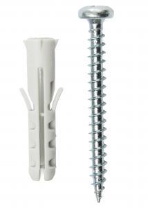 Skrue og plug til betonvæg - 5-pack (40x8 mmk)
