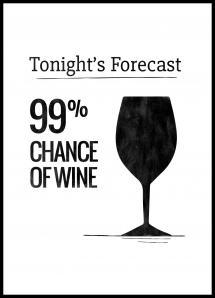 Tonights Forecast 99% Chance of Wine Plakat