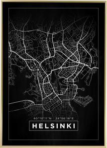 Kort - Helsinki - Sort Plakat