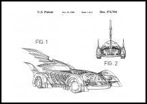 Patenttegning - Batman - Batmobile 1996 I Plakat