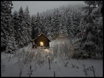 Sommerhus i vinterfrakke Plakat
