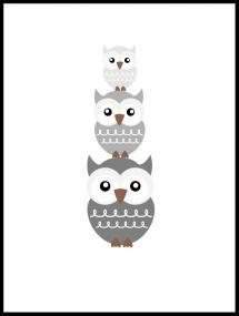 Ugle Triss - tåget grå Plakat