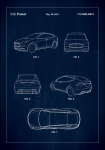 Patent Print - Tesla - Blue Plakat