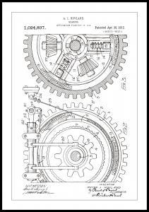 Patenttegning - Gear - Hvid Plakat