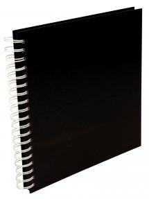 Kvadratisk Spiralfotoalbum Sort -25x25 cm (80 Sorte sider / 40 blade)