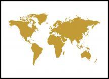 Verdenskort Guld Plakat