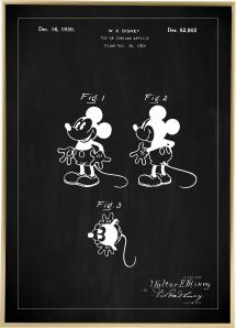 Patenttegning - Disney - Mickey Mouse - Sort Plakat