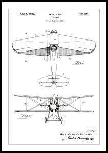 Patenttegning - Fly - Hvid Plakat