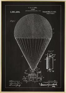 Patenttegning - Luftskib - Sort Plakat