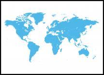 Verdenskort Blå Plakat
