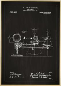Patenttegning - Planetarium - Sort Plakat