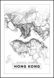 Kort - Hong Kong - Hvid Plakat