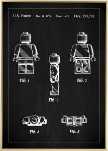 Patenttegning - Lego I - Sort Plakat