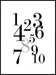 1-10 - Sort/grå Plakat