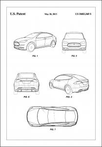 Patent Print - Tesla - White Plakat