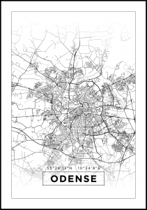 Kort - Odense - Hvid Plakat