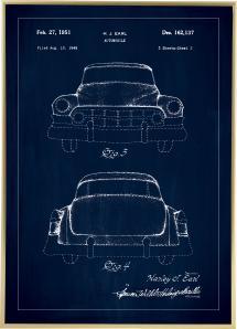 Patenttegning - Cadillac II - Blå Plakat