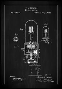 Patent Print - Edison Light - Black Plakat
