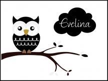 Owl Name Poster Black