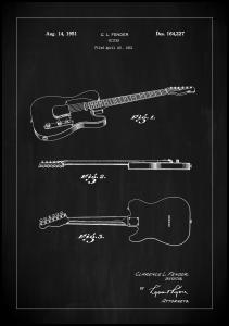Patent Print - Guitar - Black Plakat