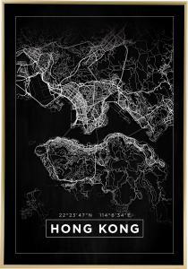 Kort - Hong Kong - Sort Plakat