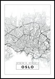 Kort - Oslo - Hvid Plakat