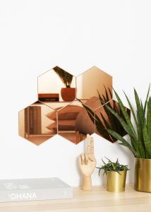 KAILA Spejl Hexagon Rose Gold 18x21 cm - 5-pak