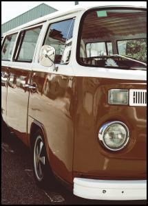 Red Volkswagen Bus Plakat