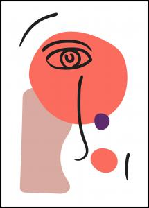 Abstract Face - Red I Plakat