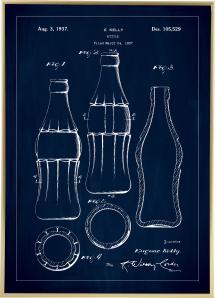 Patenttegning - Coca Cola flaske - Blå Plakat